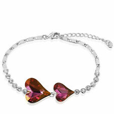 Purple Love & Heart Austria Crystals Rhinestone White Gold Plated Chain Bracelet