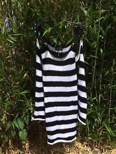Spank London Knitted Clip Dress Black And White Stripe Size Large New
