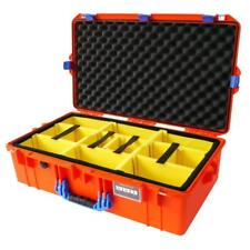 Orange with Blue Pelican 1605 Air case With Yellow Padded Dividers