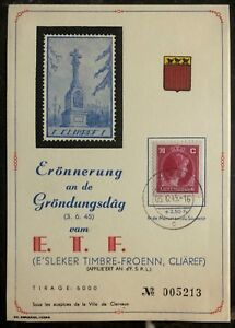 1945 Luxembourg Souvenir Postcard Cover Anniversary Of The ETF