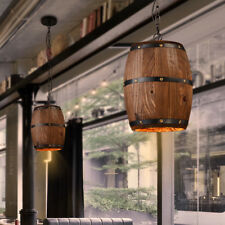 Bar Cafe Lights Wood Wine Barrel Hanging Fixture Ceiling Pendant Lamp Lighting