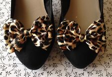 1 PAIR LEOPARD ANIMAL PRINT SATIN FABRIC SHOE BOW CLIPS VINTAGE STYLE BOWS RETRO