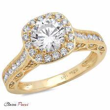 1.95 CT Round Cut Halo Wedding Engagement Bridal Ring Band 14k Yellow Gold