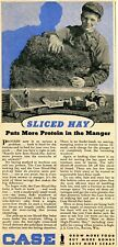 1944 Print Ad of Case Tractors Sliced-Hay Pickup Baler boy on the farm