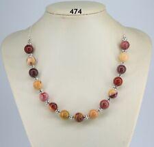 """Mookaite jasper multi-colour 12mm stone bead necklace, Tibetan silver, chain 20"""""""