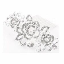 Haarkamm Haarschmuck Hochzeit Blumen Perlen warm Weiß Blätter Kristall Klar