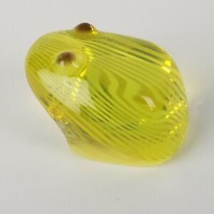 Vintage Palatnik Lucite Frog Yellow Stripes Small Art Sculpture Mid Century