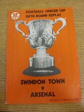 11/12/1979 Swindon Town v Arsenal [Football League Cup Replay] (Folded, Team Cha