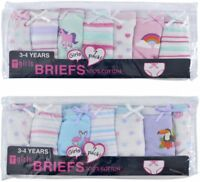 Girls 100% Cotton Printed 7 Pack Briefs pants knickers Size 2/3, 3/4, 5/6, 7/8