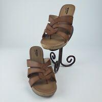 Arizona Jean Co. Brown Cork Wedge Sandals Size 8