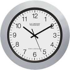 La Crosse 10 Inch Atomic Automatic Setting Analog Indoor Wall Clock Silver