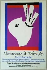 """MATISSE and CO affiche originale anglaise """"HOMMAGE à TERIADE"""" exposition 1975"""