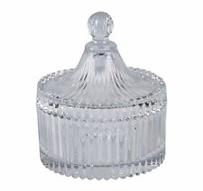 Red Cherry Dome Shape Crystal Effect Design Glass Sugar Serving Bowl with Lid