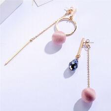 Crystal Drop Earrings Circle Cloth Ball Female Long Dangle Earring Creative K8s Purple