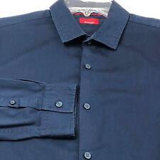 Alfani Men's Long Sleeve Button Up Shirt Large L Solid Blue Slim Fit Stretch
