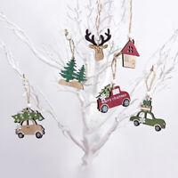 3Pcs Kawaii Hanging Wooden Christmas Tree Cabin Elk Car Ornament Home Decor Con