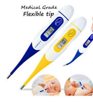 Digital Thermometer Flexible Tip Baby Child Adult Fever Alarm Auto Off LCD