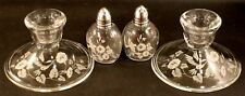 Avon Glass Hummingbird Salt Pepper Shakers & Candle Holders Excellent Condition