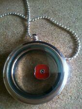 Living Memory Poppy Charm Floating Rose Gold Locket.Love & Remembrance.UK SALE