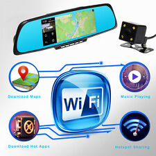 TOGUARD 7'' HD 1080P Android GPS Car Camera Rearview Mirror Dual Lens free Map