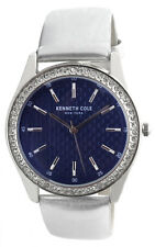 Kenneth Cole 10031701 Blue Dial Silver Tone Leather Strap Women's Watch 38mm