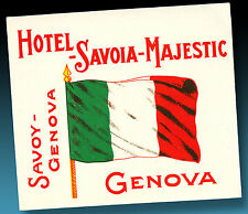 ALTER KOFFERAUFKLEBER | LUGGAGE LABEL 40er HOTEL SAVOIA MAJESTIC GENOVA | GENUA