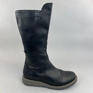 Moshulu Black Knee High Zip Up Wedge Boho Hippie Booties Boots Size 40 UK6.5 - 7
