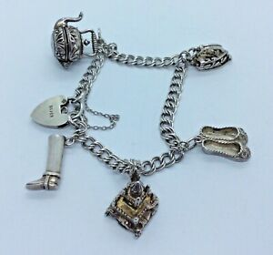 Vintage Hallmarked Silver Charm Bracelet With Articulated Charms & Heart Lock