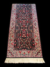 "Hand Woven Oriental Runner Rug Carpet 12'x30""  Black Multi Blue Red Floral"
