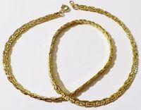 collier chaine rétro maille plate gravé finement couleur rodier or * 4981