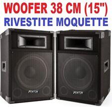 """COPPIA CASSE AMPLIFICATE ATTIVE 1600W WOOFER 38 CM (15"""") KARAOKE DJ DIFFUSORI"""