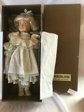 "Timberline Hand Carved/Painted Wooden Doll 18"" Blonde/Blue Original Box, Tag"