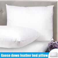 Set of 2 Goose Down Feather Pillow Cotton Cover Standard Bed Pillows Deep Sleep