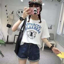 Summer Korean Womens Cute Bear Printing Blouse Loose T-Shirt Short Tops