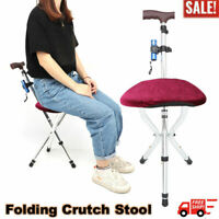 Travel Cane Walking Stick Chair Seat Portable Folding Tripod Stool Camp Hiking