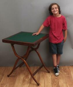 Antique mid-19thC Folding Mahogany Campaign Desk Table, Red Leather Interior NR