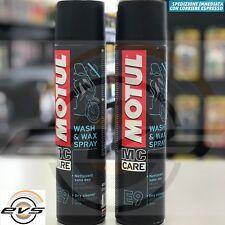 Pulitore a Secco Motul E9 Wash Wax Spray Pulisce Ravviva tutte Superfici 2x400ml