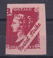 1971 STRIKE MAIL PL POSTAL SERVICE 3/- IMPERFORATE RED ON PINK STAMP MNH (c)