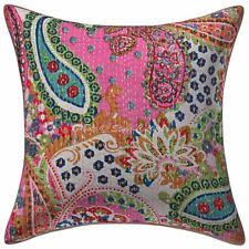 "Handmade Paisley Sofa Cushion Cover Indian Kantha Pillow Case Cover 16"" Throw"