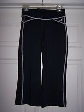 BCG Women's Athletic Fitness Pants S Black White Stitching Stretch Fabric