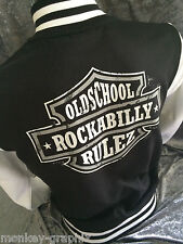 Bikerjacke Oldschool Rockabilly Baseball College Jacke Schwarz USA Retro Vintage