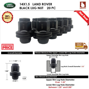 20PC LAND ROVER RANGE ROVER EVOQUE 14X1.5 BLACK MAG LUG NUT FIT STOCK WHEEL
