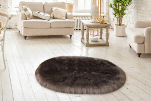 Lambzy FAUX  OVAL Sheepskin,Silky Shaggy Rug,Soft Touch Fur -BROWN color