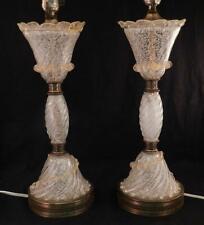 Pair Vintage Mid Century Modern Table Lamps~ Italian Murano Venetian Art Glass
