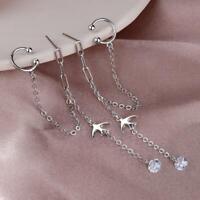 1pcs Korean  Long Tassel Crystal Ear Cuff Earrings For Women Small Swallow Chain