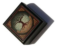 """Velvet Lined Printed Clear Top Jewelry Box - Tree of Life (2.5""""x2.5""""x1.5"""")"""