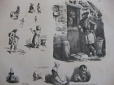 Lithographie ancienne originale Bellangé costumes romantisme couple scène de vie