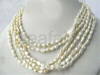 6 Strands 18'' White Baroque Rice Freshwater Pearl Necklace