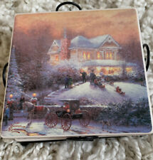Thomas Kinkade Victorian Christmas Coasters Holder C1
