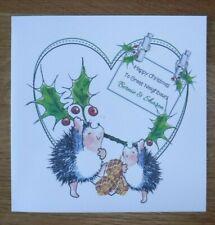 HANDMADE PERSONALISED CHRISTMAS CARD, HEDGEHOG NEIGHBOURS